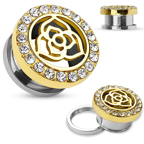 Rose cutout gold plated with jeweled rim tunnels.   Sold in Pairs
