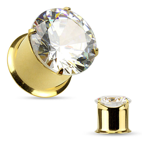 Prong Set Round Jeweled CZ Top Gold plated 316L Surgical Steel Double Flared Plugs- Sold in Pairs