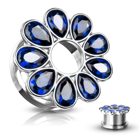 BLUE Jeweled Zircon Set Flower Steel Screw Fit Tunnels-Sold in Pairs