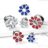 CLEAR Jeweled Zircon Set Flower Steel Screw Fit Tunnels-Sold in Pairs