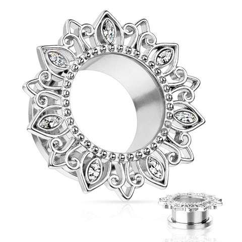 Tribal Lotus Flower with Clear Zircon Petals Steel Screw Fit Tunnels-Sold in Pairs