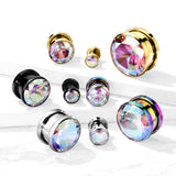 AB Zircon Bezel Set Gold Plated Steel Screw Fit Tunnels-Sold in Pairs