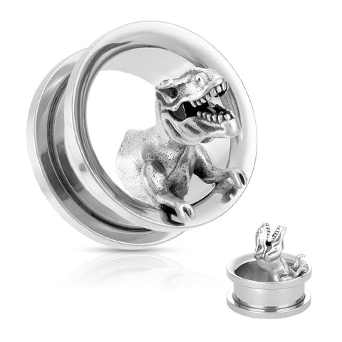 T-Rex Dinosaur Steel Screw Fit Tunnels-Sold in Pairs