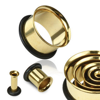 Single Flared Tunnel Plugs Gold Ionized - Sold in Pairs