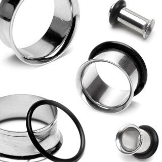 Single Flared Flesh Tunnels 316L Surgical Stainless Steel - Sold in Pairs