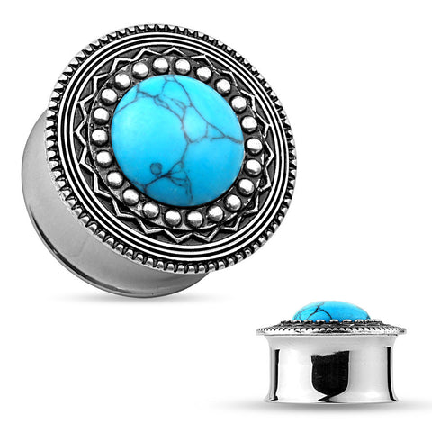 Synthetic Turquoise on Silver Plated Tribal Top 316L Steel Double Flared Plugs. Sold in Pairs.