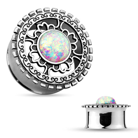 Opal Glitter Centered Antique Silver Plated Tribal Shield Top Double Flared Tunnels