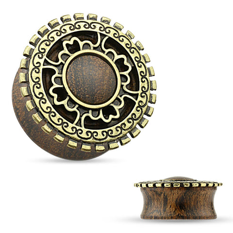 Tribal Shield with Antique Gold Plated on Top of Wood Saddle Plugs.  Sold in Pairs.