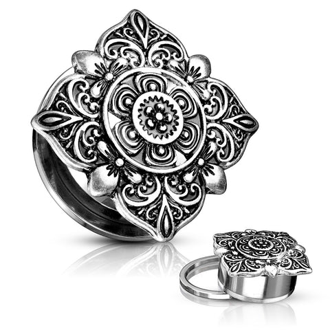 Floral Filigree Square Top Steel Screw Fit Tunnels- Sold in Pairs