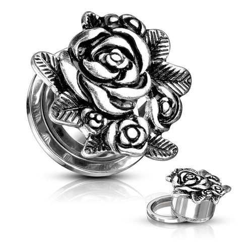 Rose Blossoms Top Steel Screw Fit Tunnels- Sold as a pair.