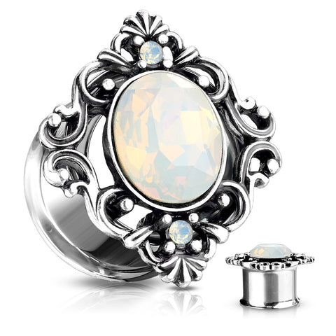 White Oval Opalite Stone Set Filigree Square Front Steel Double Flared Tunnels-Sold in Pairs