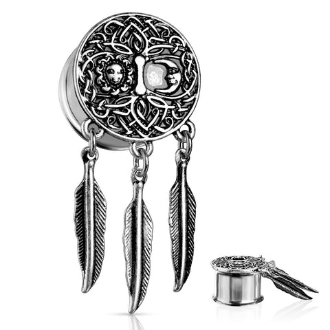 Sun and Moon Tree of Life with Feather Dangles Steel Double Flared Tunnels-Sold in Pairs