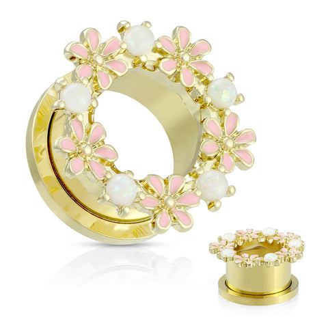 Opalite Stones and Enamel Flowers Gold PVD  Steel Screw Fit Tunnels-Sold in Pairs