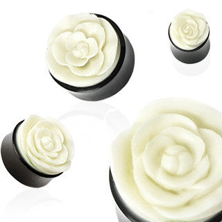 Rose Hand Carved Bone Inlay Organic Horn Saddle Fit Plugs - Sold in Pairs