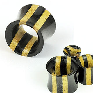 Double Stripe Two Tone Ebony Areng & Jackfruit Wood Tunnel Saddle Fit Plugs - Sold in Pairs