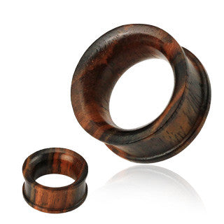 Concave Double Flat Flared Tunnel Organic Sono Wood Plug - Sold in Pairs