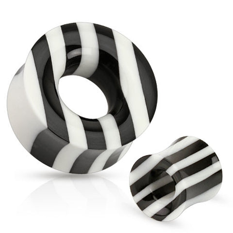 Black and White Striped Organic Horn and Bone Tunnel - Sold in Pairs