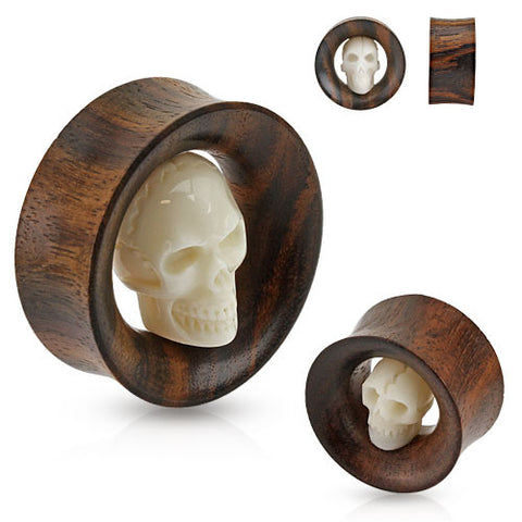 Carved Skull Inside Organic Sono Wood Saddle Fit Tunnel - Sold in Pairs