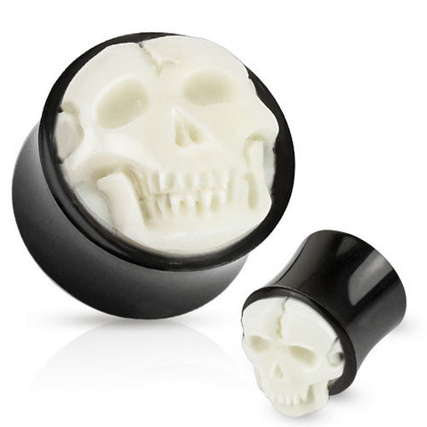 Bone Skull Hand Carved Inlay with Organic Horn Saddle Plug - Sold in Pairs