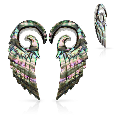 Abalone Angel Wing Spiral Taper Hangers-Sold as pair