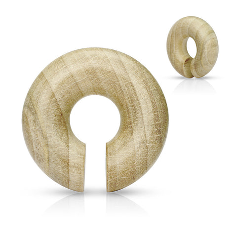 Wood Round Ear Spiral Hangers-Organic Crocodile -Sold in Pairs