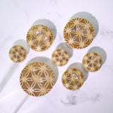 Flower of Life Center Cut Out Saddle Fit Plugs-Sold as Pair