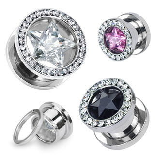 Star CZ and Multi-Gemmed Rim Steel Screw Fit Hollow Tunnels.  Sold in Pairs.