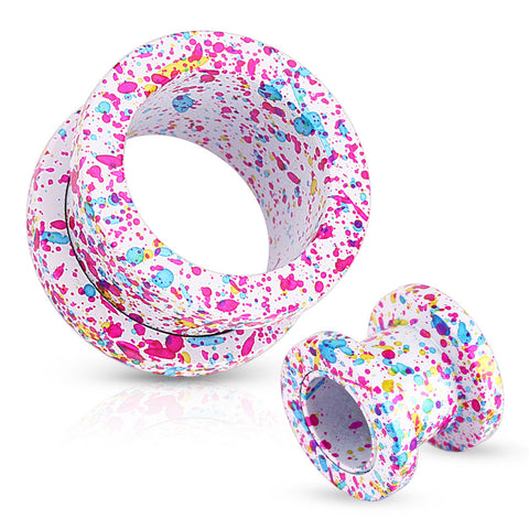 Pink, Blue, Yellow Splatter 316L Surgical Steel Screw Fit White Tunnels- Sold in Pairs