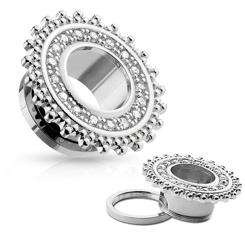 Tribal Shield Top with CZ Paved 316L Surgical Steel Screw Fit Flesh Tunnels-Sold in Pairs