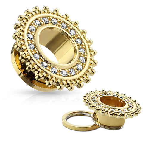 Tribal Shield Gold Plated with Clear Jewels Screw Fit Tunnels- Sold in Pairs