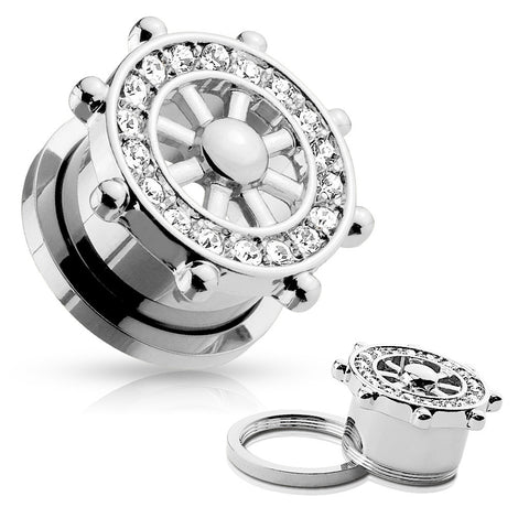 Yacht Wheel Top with Clear CZ Jewels Surgical Steel Screw Fit Flesh Tunnels- Sold in Pairs
