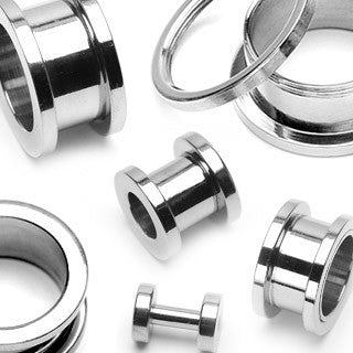 Screw Fit Flesh Tunnels 316L Surgical Stainless Steel - Sold in Pairs