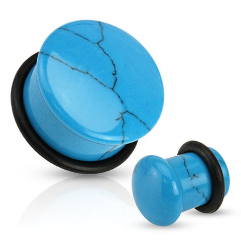Turquoise colored Semi Precious Stone Domed Single Flare Plugs with O-Ring - Sold in Pairs