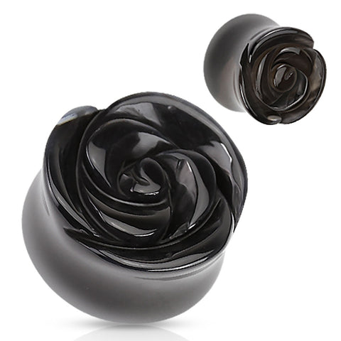 Rose Carved Black Agate Stone Double Flared Plugs-Sold as Pair