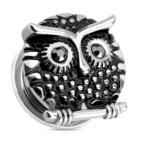Owl with Gemmed Black Eyes 316L Surgical Steel Screw Fit Plugs-Sold in pairs