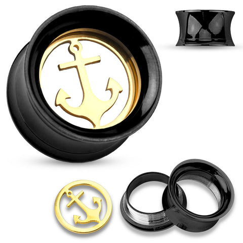 Gold Anchor inside of Black Screw Fit Tunnels-Sold in pairs