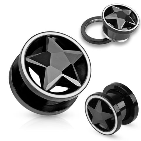 Black CZ Star Inside of Black IP Screw Fit Tunnel with White Rim - Sold in Pairs