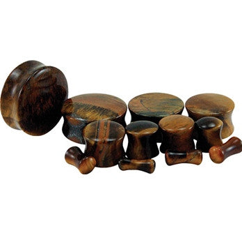 Tiger Eye Natural Stone Plug - Sold in Pairs