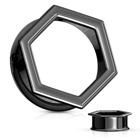 Hexa Front Black Double Flared Tunnels- Sold as Pair