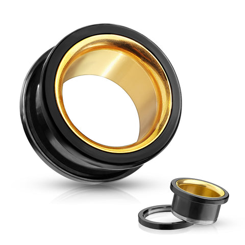Black With Gold Interior Steel Screw Fit Tunnels-Sold in Pairs