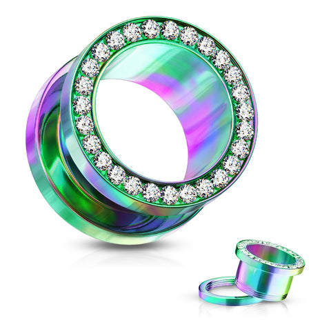 Clear Gem Set Rim Rainbow PVD Steel Screw Fit Tunnels-Sold in Pairs