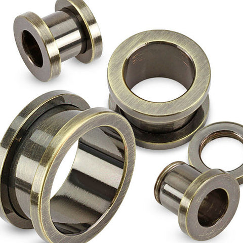 Gunmetal Screw-Fit Tunnel Ion Plated over 316L Surgical Stainless Steel NO LONGER MADE- Sold in Pairs