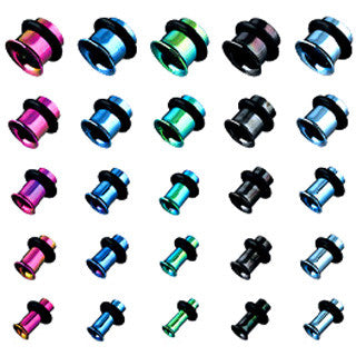 Single Flared Plugs Ion Plated (Black, Blue, Green or Purple) - Sold in Pairs
