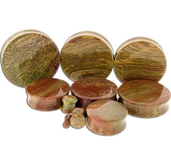 Wood Line Jasper Stone Plugs - Sold in Pairs
