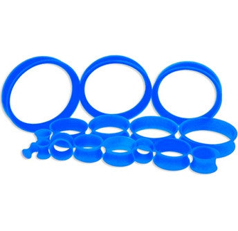Dark Blue Silicone Tunnels-Thin walled - Sold in Pairs