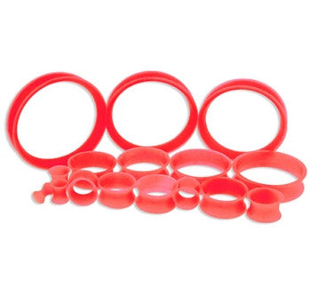 Red Silicone Tunnels- Thin walled - Sold in Pairs