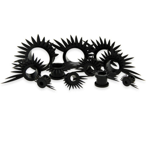Black Spike Silicone Tunnels- Sold in Pairs