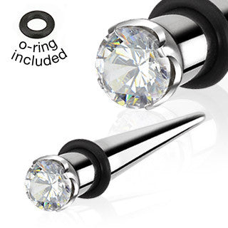 Taper with Prong Clear Gem 316L Surgical Steel with O-ring. Sold in pairs