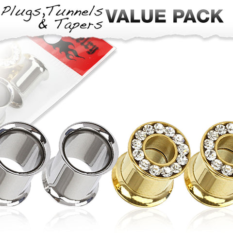 4 Pcs Value Pack of Steel   Double Flare Tunnels and Gold IP with Clear Gemmed Screw Fit Tunnels