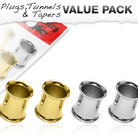 4 Pcs Value Pack-Steel and Gold IP Flesh Double Flare Tunnels